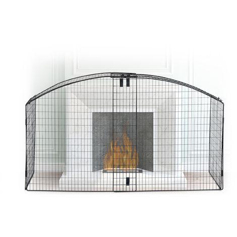 Barrière de sécurité pare-feu de cheminée grille enfant métal acier rond largeur variable, noir