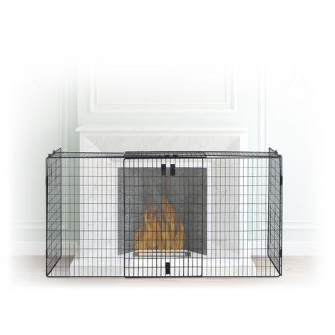 Barrière de sécurité pare-feu de cheminée grille pare-étincelles enfant métal 160 cm, noir