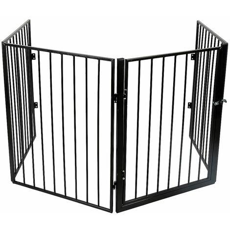 Barriere de Securite porte et escalier pour enfants et animaux 4 panneaux Modular Métal Noir - Noir