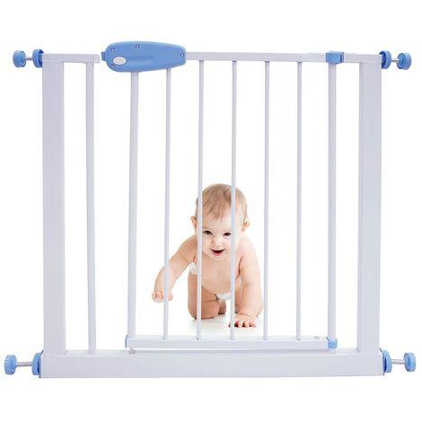 Barrière de Sécurité pour Bébé, Barrière Ajustable pour Porte, 74 à 87cm, Blanc, Largeur: 74-87 cm