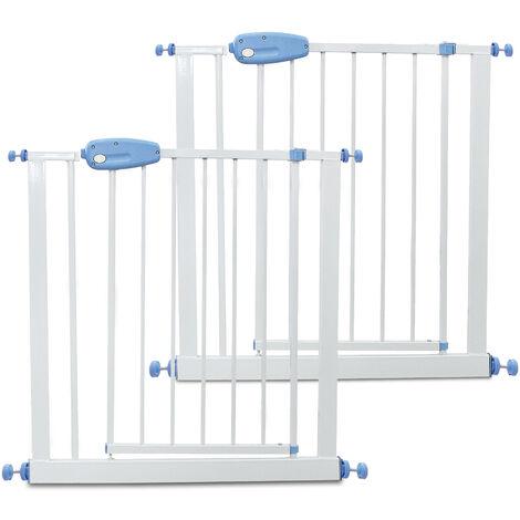 Barrière de Sécurité pour Bébé, Barrière Ajustable pour Porte, 74 à 87cm, Blanc, Pack de 2, Largeur: 74-87 cm