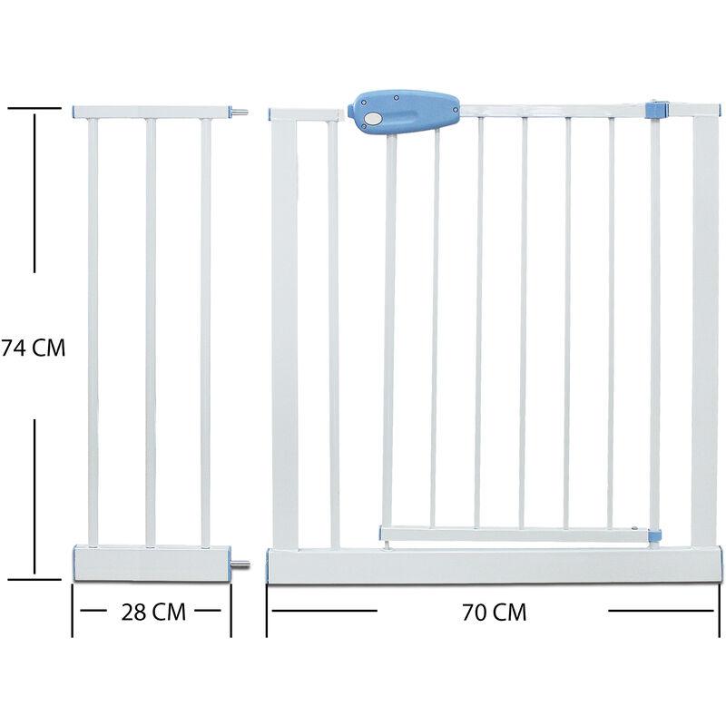 Todeco Largeur: 74-87 cm Hauteur: 74 cm Blanc Barri/ère Ajustable pour Porte Extension de 81 /à 94 cm Barri/ère de S/écurit/é pour B/éb/é