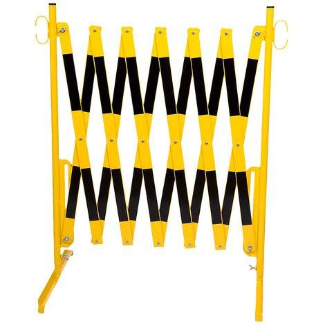 Barrière extensible - avec pieds - jaune / noir, longueur max. 4000 mm