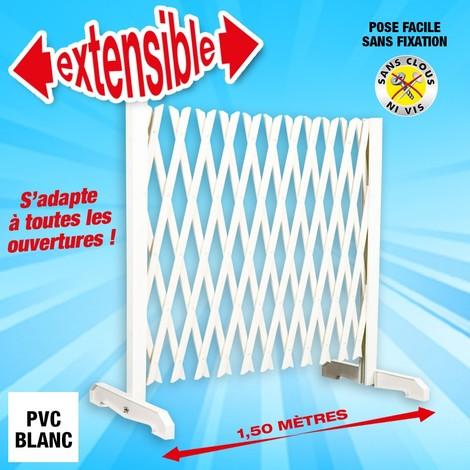 barrière extensible blanche en PVC, longueur jusqu'à 1,50M, hauteur 90cm