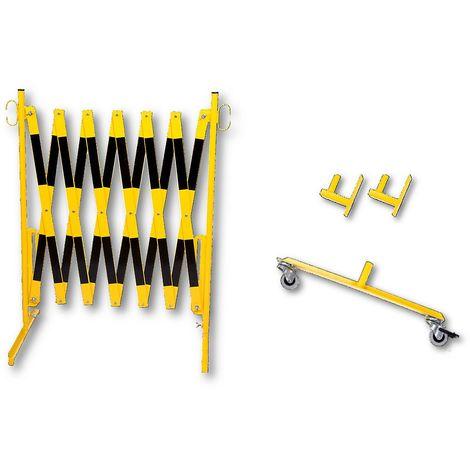 Barrière extensible - support mural, 2 roulettes - jaune / noir, longueur max. 3600 mm