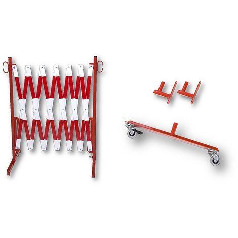 Barrière extensible - support mural, 2 roulettes - rouge / blanc, longueur max. 4000 mm