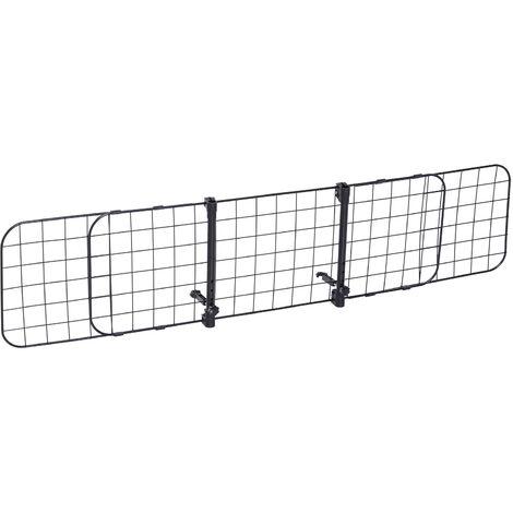 Barrière grille de séparation universelle voiture pour animaux longueur réglable dim. 91-145L x 30H cm kit complet installation inclus noir - Noir