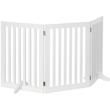 Barrière protection, Grillage pour chiens réglable, Enfants, cheminée et four, MDF, 70x154cm,blanc