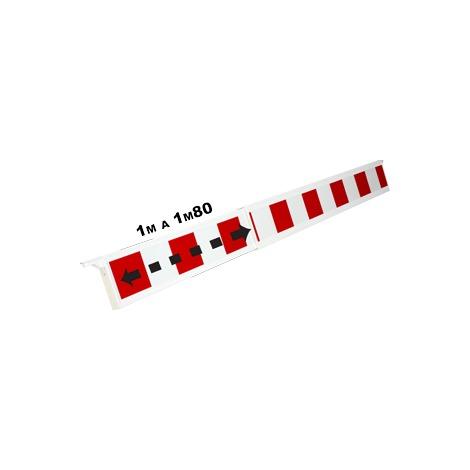 Barrière téléscopique 1 à 1,80m rétroréfléchissante Rouge/Blanche type K2 - 1320147