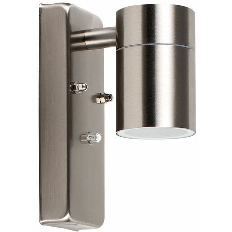 Barrow IP44 Outdoor Sensor Bulkhead Security Wall Light - Dusk Till Dawn Sensor - Silver