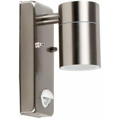 Barrow IP44 Outdoor Sensor Bulkhead Security Wall Light - Dusk Till Dawn Sensor - Silver