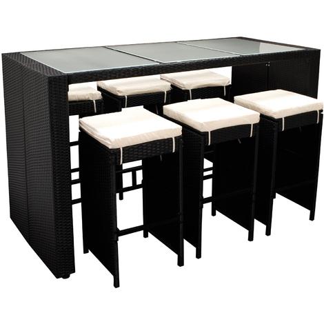 Barset DAVOS 13-teilig, 1x Tisch, 6x Hocker mit Polster, Geflecht schwarz