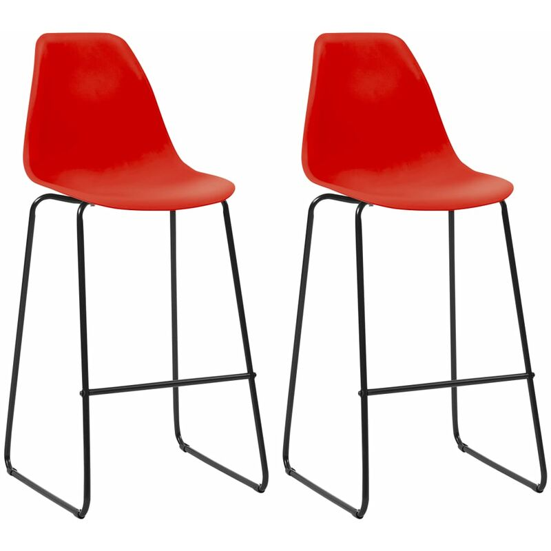 Barstühle 2 Stk. Rot Kunststoff