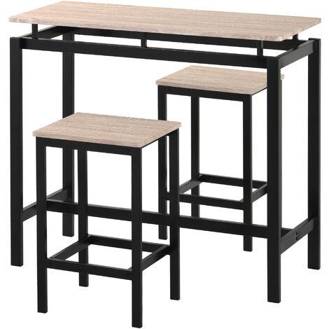 Bartisch-Set, Bar Tisch und St¨¹hle aus Eisenholz, K¨¹chentisch und St¨¹hle, Stehtisch und Barhocker, Restaurant, Stehtisch aus dunklem Holz