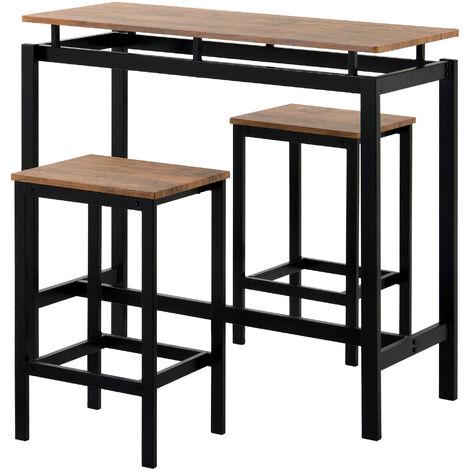 Bartisch-Set, Bar Tisch und Stuhle aus Eisenholz, Kuchentisch und Stuhle, Stehtisch und Barhocker, Restaurant, Stehtisch aus dunklem Holz(Bitte lesen Sie die Produktbeschreibung sorgfaltig durch)