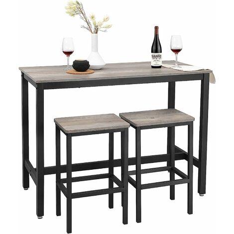 Bartisch-Set, Stehtisch mit 2 Barhockern, Küchentresen mit Barstühlen, Küchentisch und Küchenstühle im Industrie-Design, für Küche, 120 x 60 x 90 cm, vintagebraun-schwarz/greige-schwarz