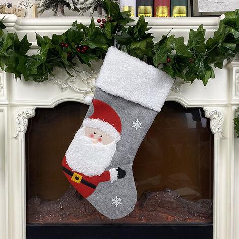 Bas de Noel Grand bas de Noel, manchette en fausse fourrure en peluche en laine non tissee pour la decoration de Noel et le decor de fete de vacances en famille,modele: Style Pere Noel
