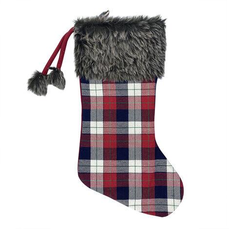 Bas De Noel Grand Noel Stocking, Non-Tisse Tissu Laine En Peluche Revers En Fausse Fourrure Pour Decoration De Noel Et La Famille Holiday Party Decor, Style B