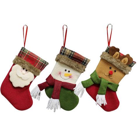 Bas De Noel, Sacs De Bonbons Cadeaux, Decorations De Noel, 3Pcs