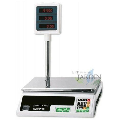 Báscula de comercio comercio digital 30 Kg - 5 gramos graduación