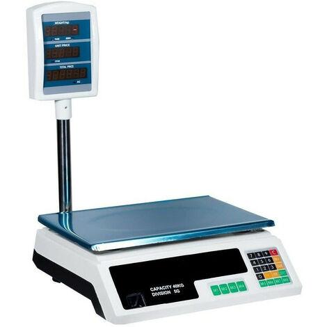 Báscula de comercio digital electrónica 40KG Balanza Comercial Doble Pantalla LED