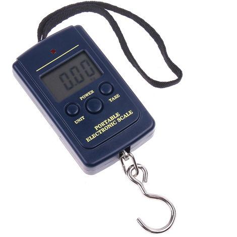 Bascula electronica digital con gancho, 40 kg, azul