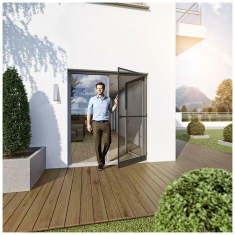 Bascule Porte de protection contre les insectes Porte-moustiquaire à barreaux en aluminium 100x210cm, anthracite