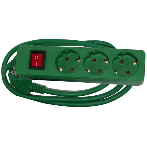 Base 3x16A c/interruptor color verde