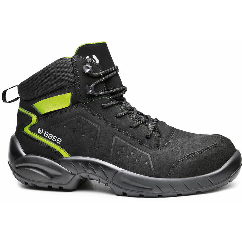 Image of BASE B0177 Safety Boot Shoe Sz4.5 Black/Green Chester Top