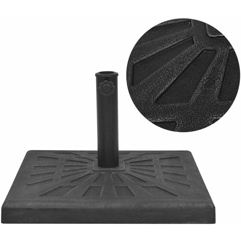Base carrée de parasol Résine Noir 19 kg