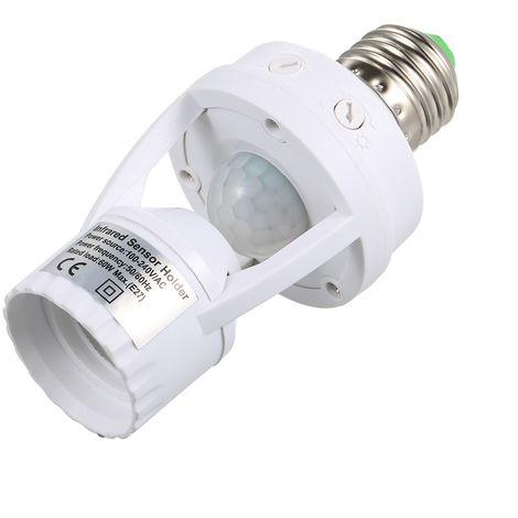 Base de bombilla LED E27, portalamparas de luz automatica infrarroja