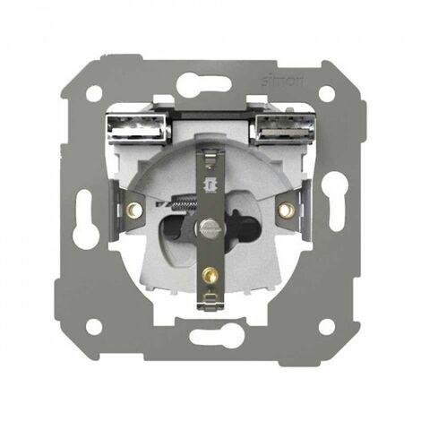 Base de enchufe Schuko 2p+ tt 16AX con doble cargador USB Simon 7501432-039