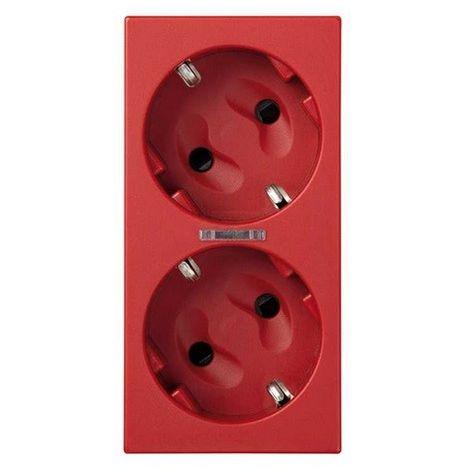Base de enchufe schuko doble 16 A 250V~ con dispositivo de seguridad, led y embornamiento 1Click® rojo Simon 500 Cima