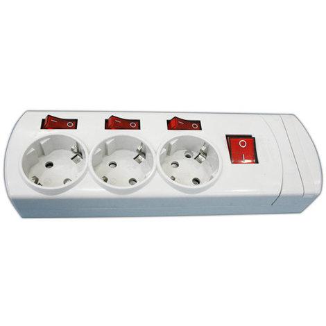 Base de tres tomas con interruptores independientes 16A/250V sin cable Electro DH. Termoestable 36.186/SC 8430552130139
