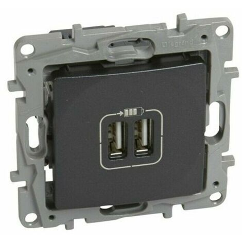 Base Doble Cargador USB Antracita Legrand Niloe 665494