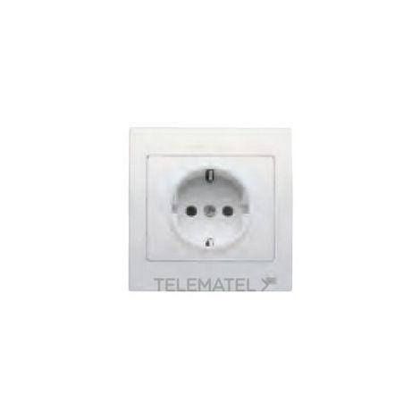 Base enchufe 2P+TT lateral beige con dispositivo de seguridad y marco Iris (monoblock) 16A 250V