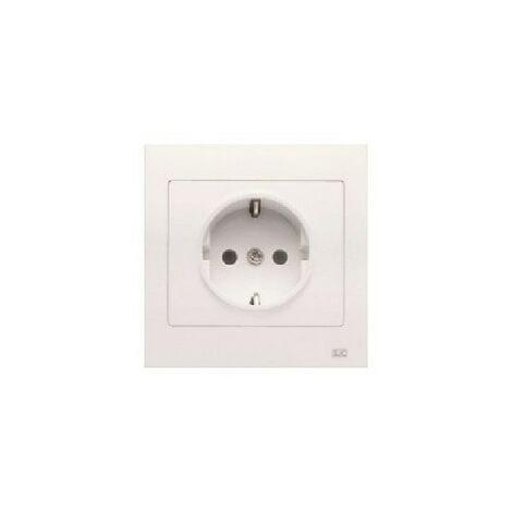Base enchufe 2P+TT lateral blanco con dispositivo de seguridad y marco Iris (monoblock) 16A 250V