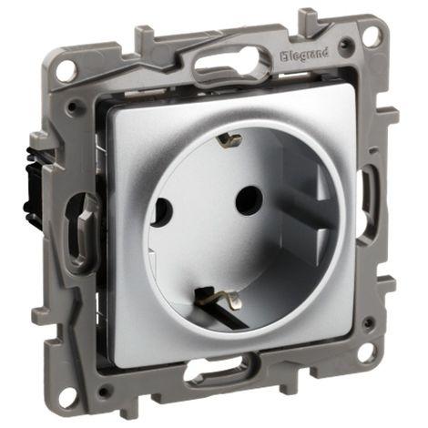 Base enchufe 2P+TT Legrand Niloe 665331 Aluminio