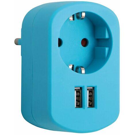 BASE ENCHUFE CON 2 TOMAS USB 2.1A AZUL