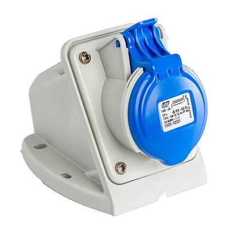 Base enchufe industrial hembra 2P+T 220V IP44 superficie Azul 16 A