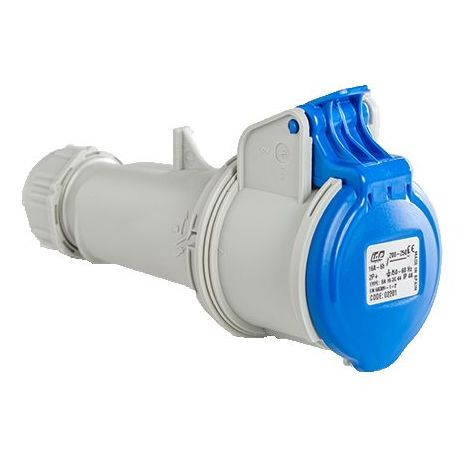 Base enchufe industrial hembra 2P+T 250V IP44 aerea Azul 16 A