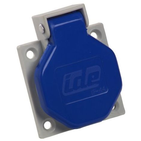 Base enchufe industrial hembra 2P+T 250V IP44 empotrar Azul 16 A