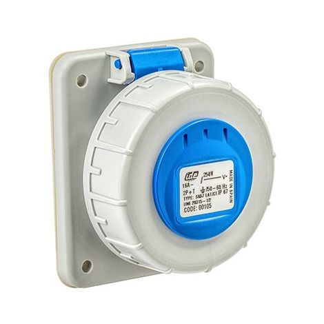 Base enchufe industrial hembra 2P+T 250V IP67 empotrar Azul 16 A