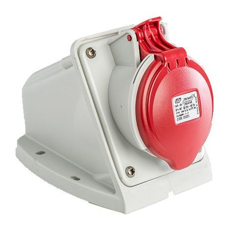 Base enchufe industrial hembra 3P+N+T 380V IP44 superficie Rojo 16 A