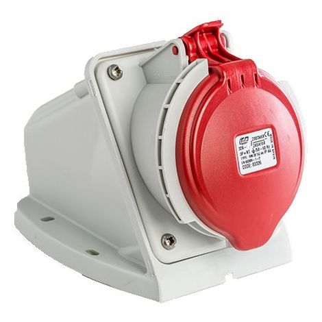 Base enchufe industrial hembra 3P+N+T 380V IP44 superficie Rojo 32 A