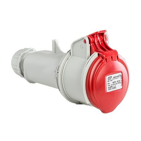 Base enchufe industrial hembra 3P+T 380V IP44 aerea Rojo 16 A