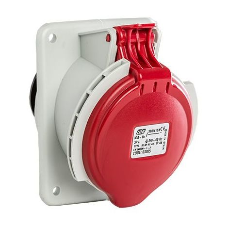 Base enchufe industrial hembra 3P+T 380V IP44 empotrar Rojo 32 A