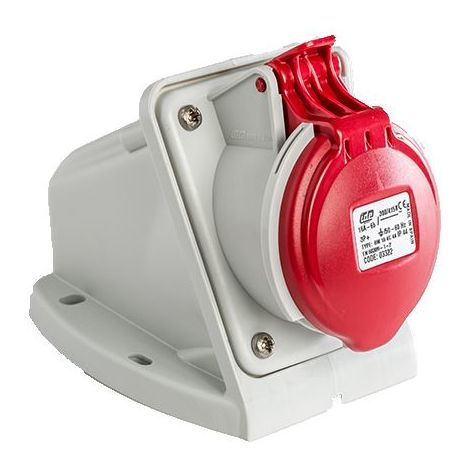 Base enchufe industrial hembra 3P+T 380V IP44 superficie Rojo 16 A