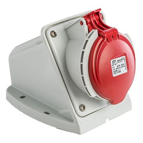 Base enchufe industrial hembra 3P+T 380V IP44 superficie Rojo 32 A