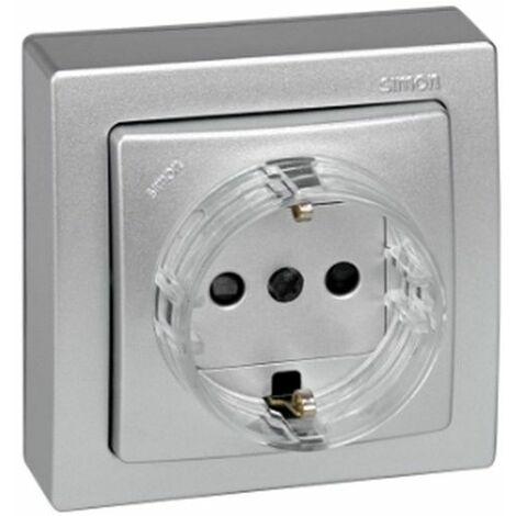 Base enchufe schuko monobloc aluminio Simon73 Loft 73432-53